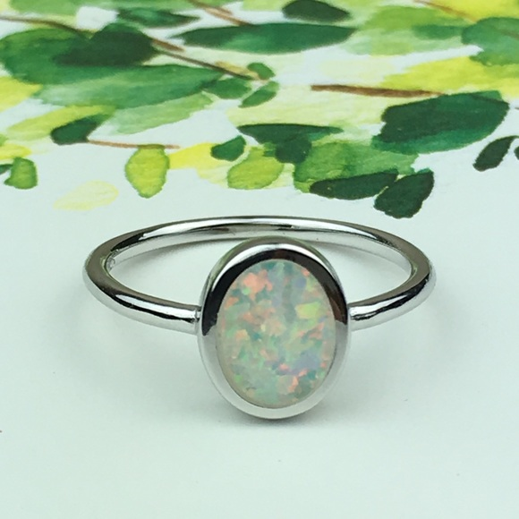 Jewelry - Sterling Silver Simulated Opal Ring